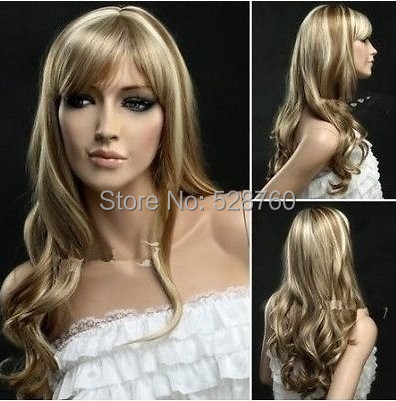 Womans light brown and  blonde mix wig long wavy hair wig free shipping<br><br>Aliexpress