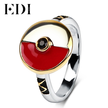 EDI Ring For Women 925 Sterling Silver Black Sapphire Pokemon Gemstone Cartoon Pikachu Design Party Mens Fine Jewelry(China)