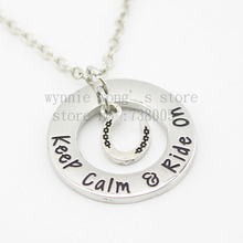 "2015 new arrive Barrel racing Jewelry""Keep calm ried on'""Necklace Hand stamped horse lover jewelry horse gift"