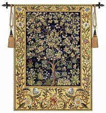 Belgium tapestry wall hanging decoration William morris - tree of life Blue Small 89cm X 68cm Home textile product