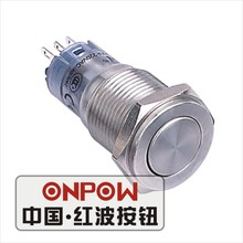 ONPOW 16mm Metal Super Flat actuator Momentary Release return Stainless steel Push Button Switch (LAS2GQPF-S) CE,RoHS(China)