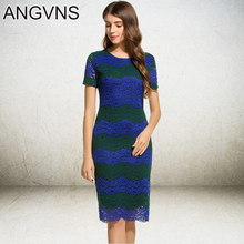ANGVNS Striped Lace Dress Party Elegant Office Lady 2017 Spring Sexy Vestidos Summer Vintage Knee Length Formal Dresses Women