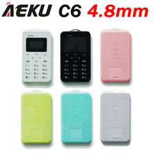 Russian language AIEK C6 Card Cell Phone 4.8mm Ultra Thin Pocket Mini Phone Quad Band Low Radiation AEKU C6 Card cheap Phone