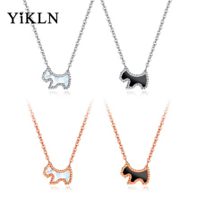 YiKLN Stainless Steel White Shell Love Dog Animal Pendant Necklaces Jewelry Rose Gold Color Chains Necklace For Women YGX1347(China)