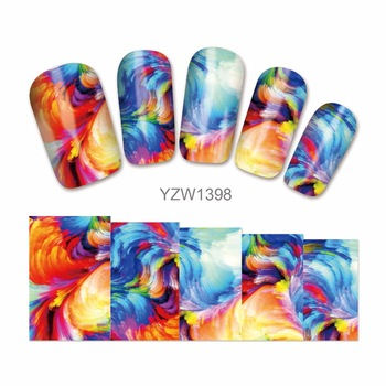 ZKO Flower Water Nail Decals Nail Art Stickers Tips Decal The Colorful Pattern Full Cover Nail Sticker 1398