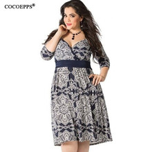 Cocoepps 2017 nova chegada 6xl plus size do vintage print dress primavera escritório casual dress grande big size mulheres dress femininos 5XL