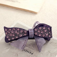 Hot Fashion Hair Spring Clip Bow With Rhinestone For Women Hairpin Shinning Acetate Flower French Hair Barrettes Crab Clamp