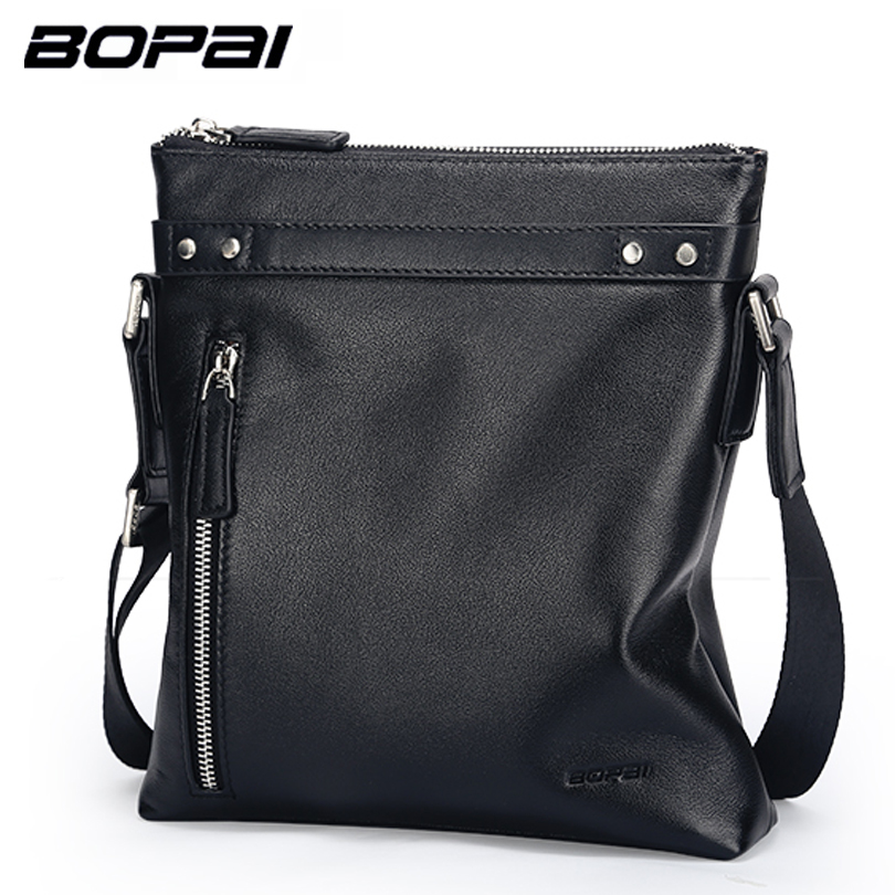BOPAI 2017 Fashion Men Bag Crossbody Bag Genuine Leather Male Small Shoulder Bag Business Mens Leather Bag Vertical Men Satchel<br>