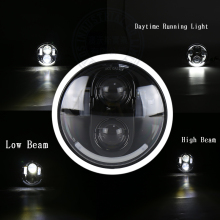 1PCS OVOVS Round 5.75inch 45w black/chrome bezel car led headlight Daymaker Hi/lo beam 12v DC with DRL for Har-ley motorcycle(China)