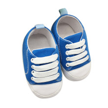 Dropshipping 2017 Newborn Lovely Soft Sneakers Casual Crib Solid Canvas Shoes 0-18Month Blue Red First Walkers baby moccasins(China)
