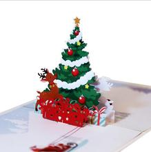 10pcs Lovely 3D Paper DIY Hand Made Festive Merry Christmas Tree Gift Favors Postcard Greeting Card(China)