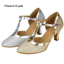 2017 New Modern Latin Ballroom Dance Shoes For Women Customize Heels Glitter Tango Salsa Fitness Shoes For Dance Silver/Gold