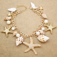 Gold Beach Seashell Ocean Sea Life Starfish Pearl Gold Charm Link Chain Bracelet Bangle Jewelry Gift Party(China)