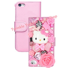 Supper Cute 3D Bling Crystal Hello Kitty Flip Wallet Leather  Case For iphone 6 6S 4.7'' For iphone 6 plus 5.5'' Phone Cases