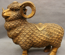 "free shipping 14"" Folk China Chinese Bronze JiXiang Wealth Coin Sheep Goat Statue Sculpture"