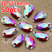 50pcs 10.5*18mm Red AB Silver Base FlatBack Rhinestone Waterdrop Sew On Stone  Resin Crystal For Jewelry Making And Strass