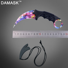 DAMASK Karambit Outdoor Self-defense Survival Camping Knife Ultra-thin Outdoors Knife Hiking Hunting Hand Tools Colorful Star(China)