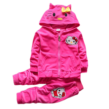 Baby Girls Boys Hello Kitty Tracksuits Clothing Set Children warm Velvet Thicken Hooded Jacket Sweatshirts Pants 2pcs Kids Suit