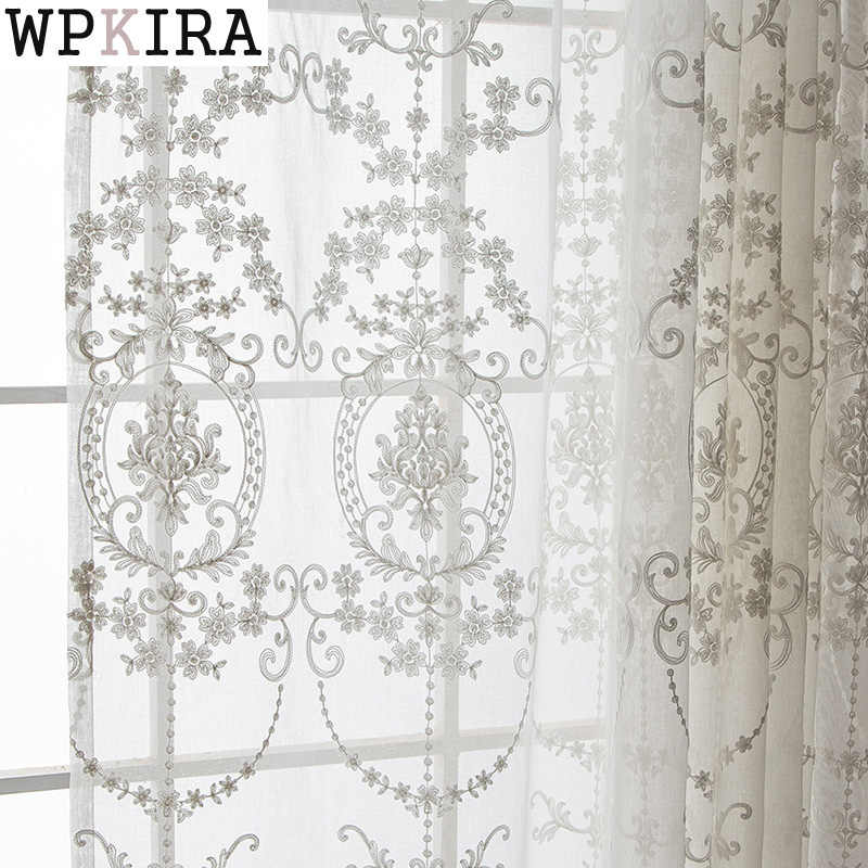 Tulle curtains luxury embroidered white window sheer voile living room window treatment transparent door European curtain 014&25