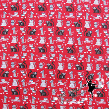 Wide 110cm Red Cat Fabric Cotton Fabric Patchwork Small Cat Printed Fabric Quilting Patchwork Sewing Material DIY Clothing