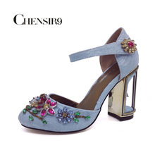 CHENSIR9 Woman Velvet with Crystal high heels shoes wedding party shoes for women mary jane shoes Light blue size 33-46 MY001A