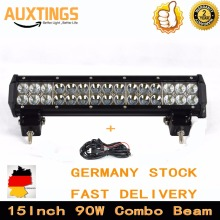 "15""INCH 90w combo beam dual row 4x4 led work light bar offroad driving light FOR Car SUV,ATV,PICKUP TRUCK BOAT"