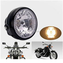 "7"" Motorcycle Halogen Headlight with Turn Signals H4 35W P43T 12v Lamp Bulb High Low Beam Metric Bike Chopper Bobber Cafe Racer"
