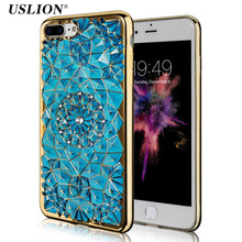 USLION For iPhone 7 Case Bling Glitter Diamond Flower Plating Phone Cases Crystal Soft TPU Back Cover Capa For iPhone7 6 6s Plus