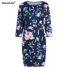 Himanjie Women Summer Autumn Dress Tops Print Floral Woman Dress Ethnic Plus Size pockets Bandage Boho Vintage Causal Dresses(China)