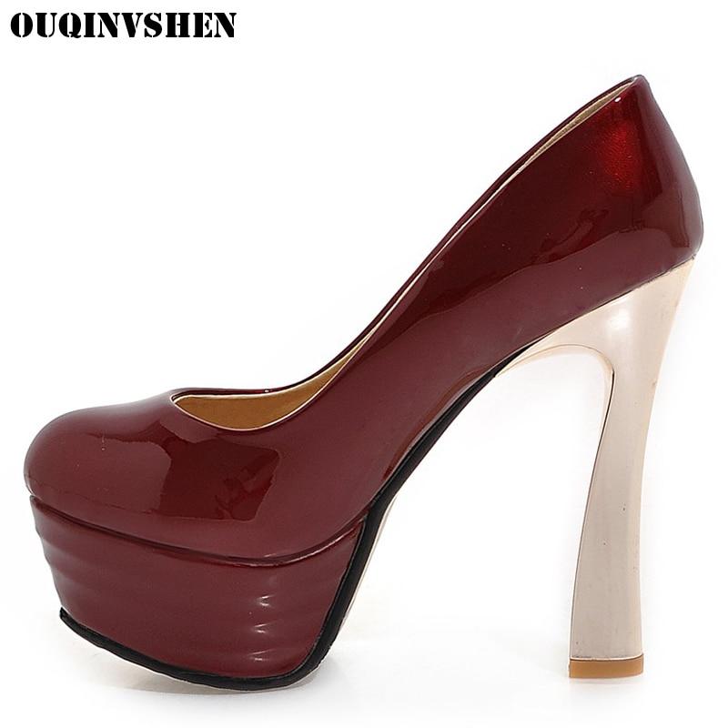 OUQINVSHEN Casual High heels Women Pumps 2017 Fashion Thin Heels Women Pumps Platform Extreme Heels Woman Brand Shoes Large Size<br>