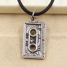 New Durable Black Faux Leather magnetic tape Cord Choker Charm DIY Necklace Pendant Retro Boho Tibetan Silver(China)