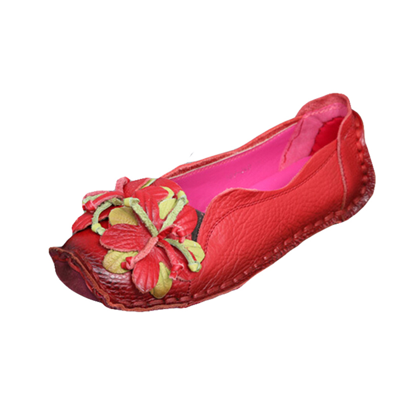 New Loafers Woman Super Soft PU Leather Flats Anti-Slippy Flowers Bright Color Shoes Pregnant Woman Vintage Womens Shoes US4-9<br><br>Aliexpress