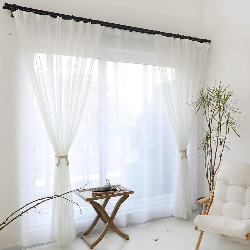 Modern Pure Solid Tulle Curtains for Shading Kitchen Hotel Balcony Living Room White Green Red Yellow Orange Hot Sale Cortinas