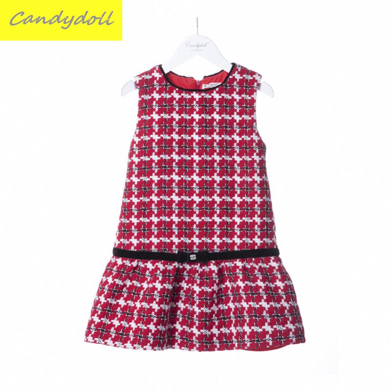 New arrival Children s Coat Girls Dress Big Girl Plaid Dress  Winter Dresses Kids Vest Dress 5-10Y<br>