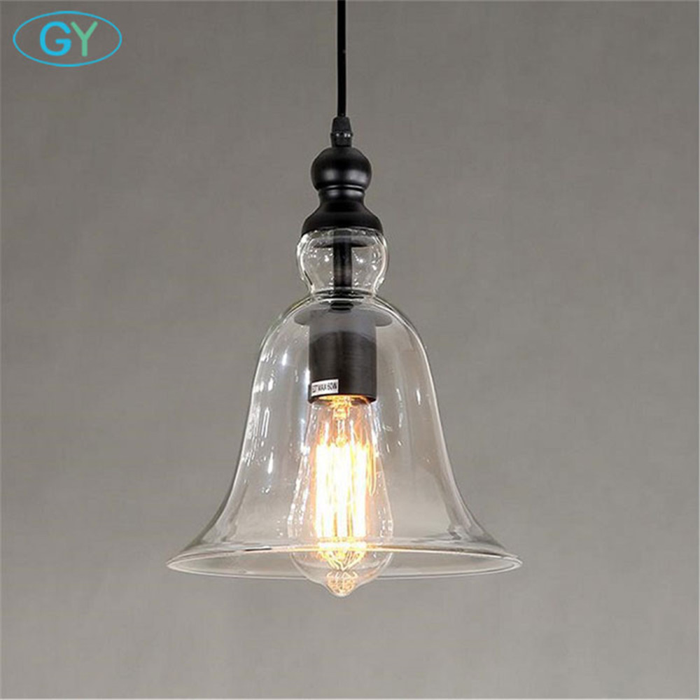 AC100-240V Clear Bell Glass Lampshade Pendant Light Household Hanging Lamp Fixture Novelty Modern Bell lamps lamparas loft lamp<br>