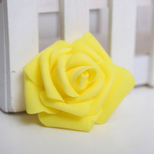 HGHO-100PCS Foam Rose Flower Bud Wedding Party Decorations Artificial Flower Diy Craft Yellow