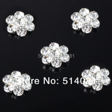 2016New 50Pcs 19mm Crystal Alloy Plum Rhinestone Button for DIY wedding embellishment headband  BT33