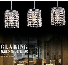 Crystal combination 3 heads E27 K9 Crystal glass clear pendent light lamp lighting fixture droplight bedroom dining room SJ100