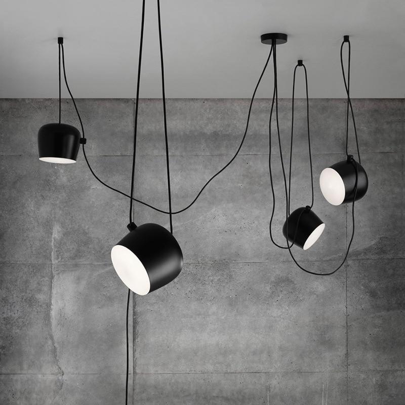 Nordic Personality DIY Spider Pendant Lamp Black Drum Shade Pendant Light Modern Adjustable Hanging Drum Light Fixture<br>