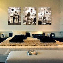 3 Panel Wall Art Paintings Famous European Building Paris Italy Tower Art Landscape Oil Pictures For New House Modern Home Decor