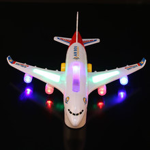 Electric Airplane Flashing Lights Sounds Child Kids Aeroplane Toy Airlines Model