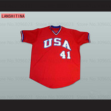 LANSHITINA Mens CGWIRE USA BASEBALL JERSEY Red 2017 NEW Arrive All Stitched Top Quality(China)