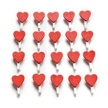20Pcs/Pack Mini Heart Love Wooden Clothes Photo Paper Peg Pin Clothespin Craft Postcard Clips Home wedding Decoration Hot Sale
