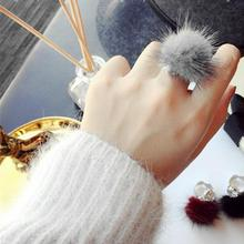 SHUANGR Mink Ring Fashion Boho Genuine Soft Leather fur ball Party Silver Rings for Women Gift PLS note No. TK2375-TK2380(China)