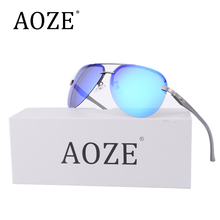 2017 AOZE Luxury Brands Classi Aviator HD Polarized Men women Driver Mirror sunglasses Rimless eyeglasses Spring Hinge Gafas(China)