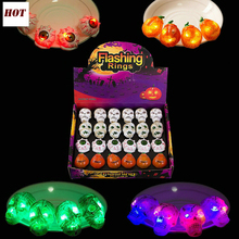 3pcs LED Flashing Light Up Glowing Finger Rings Halloween Supplies Ghosts Rings Christmas Party Gifts Toys for Children