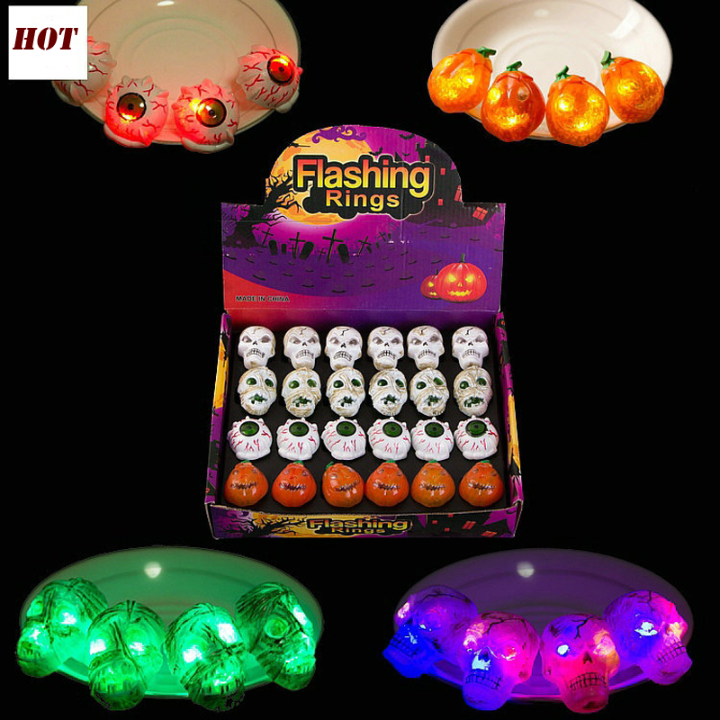 3pcs LED Flashing Light Up Glowing Finger Rings Halloween Supplies Ghosts Rings Christmas Party Gifts Toys for Children(China)