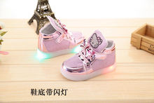 2017 New Cheapest Autumn Children's Fashion Sneakers Kids Shoes with light Chaussure Enfant Hello Kitty Girls Shoes Hot Slae