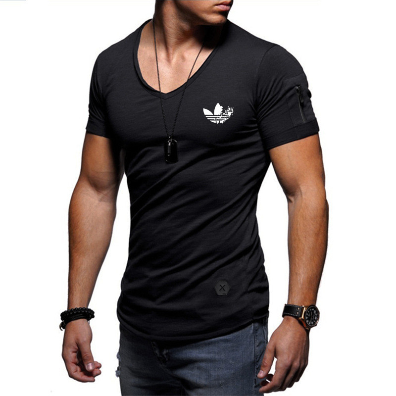 2019 fashion men's T-shirt Slim custom T-shirt brand design fashion luxury V-neck fitness casual T-shirt arm zipper T-shirt men