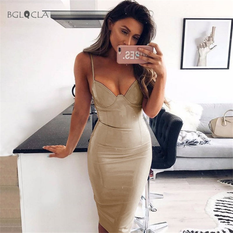 2018 Summer Sheath PU Latex Dress Women Cami Midi Dresses Female Vestidos Pencil Sexy V-Neck Plunge Party Bodycon Dress